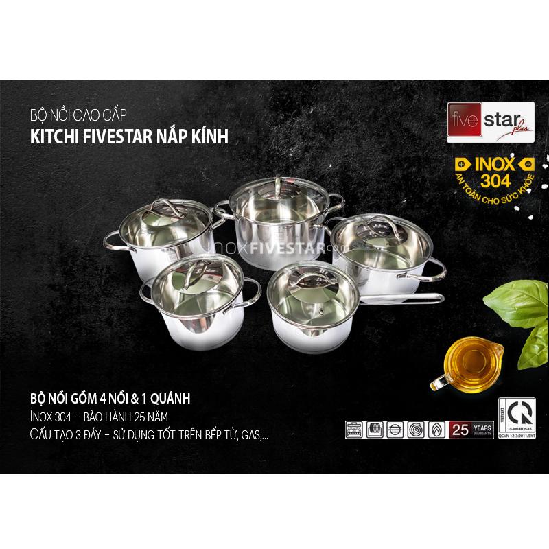 Kết quả hình ảnh cho Bộ nồi inox 304 Fivestar Kitchi 5 chiếc