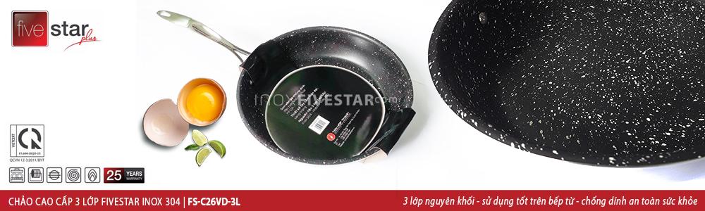 Đối với chảo chống dính Fivestar đa dạng kích thước