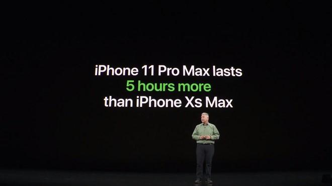 iPhone 11 Pro sẽ có thời lượng pin lâu hơn 4 giờ so với iphone Xs,
