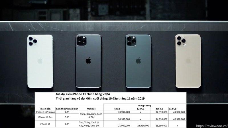 thời gian và giá bán dữ kiến iphone 11 pro max
