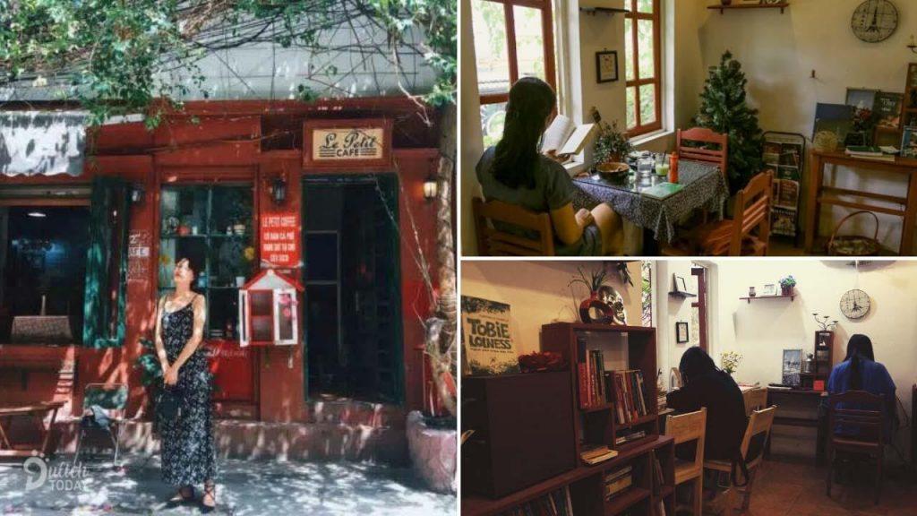 Le Petit Café là một quán cà phê sách ở Hà Nội với lịch sử khá lâu đời. Cả quán chính là một căn nhà có phần hơi cổ kính nằm trong con ngõ nhỏ ở xóm Hạ Hồi.